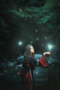 Medieval woman in fairy stream